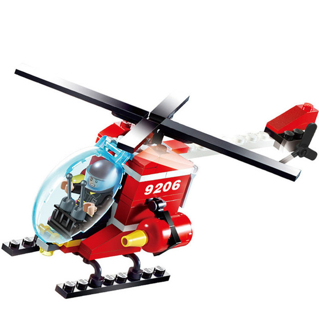 91pcs DIY Helicopters Assemble Building Blocks Bricks Children Educational Brinquedos Kids Toys