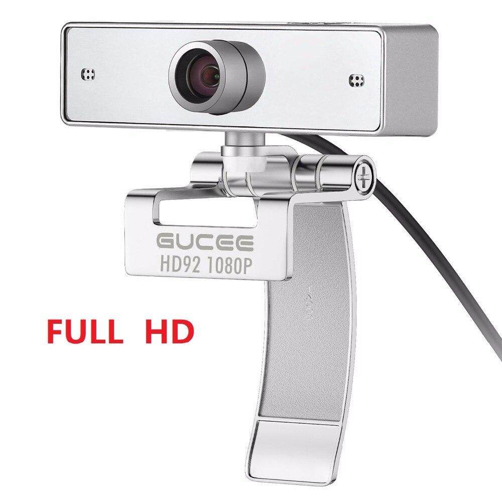 Webcam 1080 P, GUCEE HD92 Web Caméra pour Skype avec Microphone Intégré 1920x1080 p USB Plug And Play Web Cam, Vidéo grand écran
