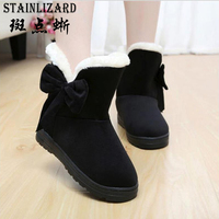 Women Snow Boots 2016 Warm Solid Plus Velvet Flat Women Boots Winter Bowtie Casual Shoes Round
