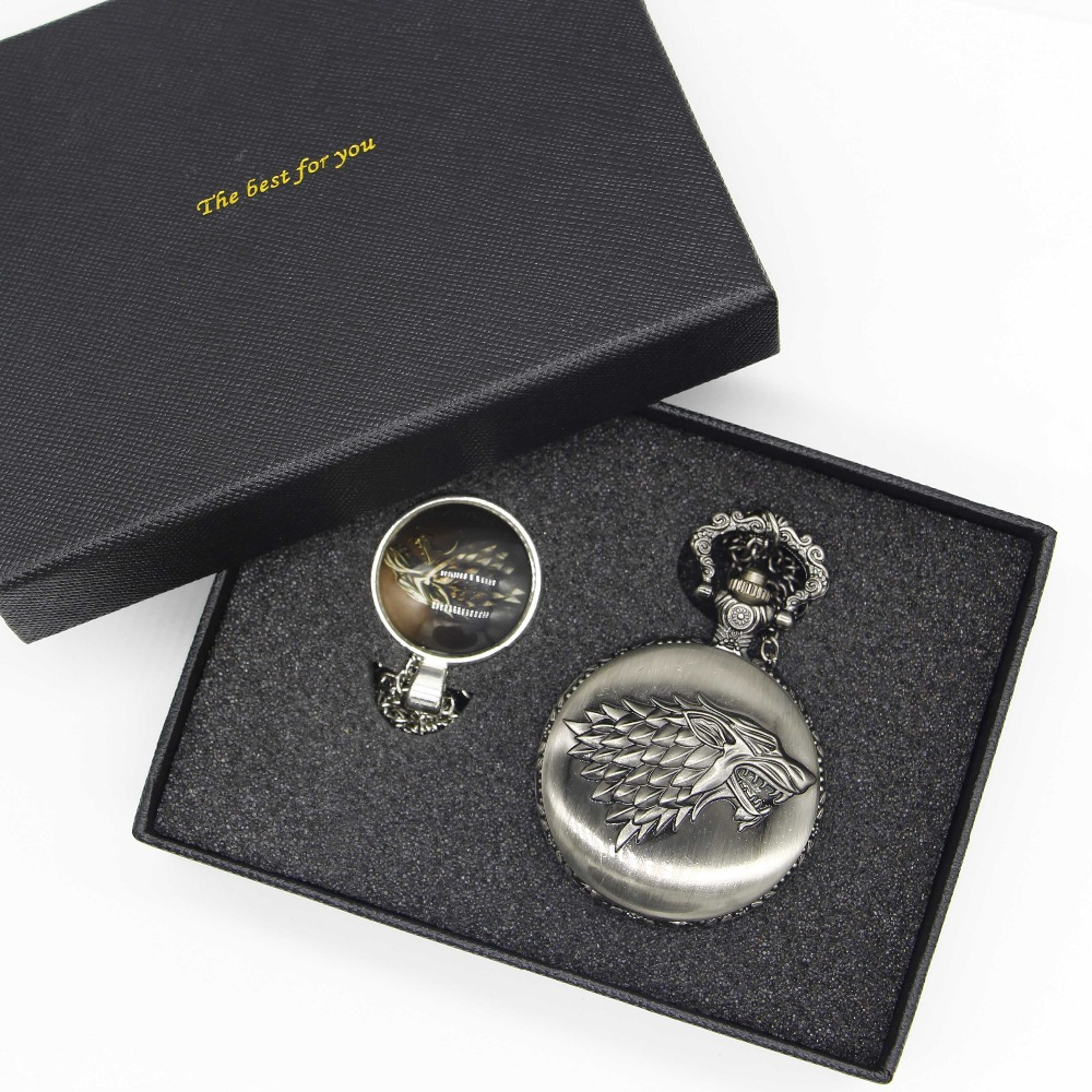 2017 Bronze Steampunk Pocket Watch Sets Game of Thrones House Strak Design Men Women Watch Necklace Jewerly Gifts Xmas top high quality fashion fullmetal alchemist quartz pocket watch sets with necklace ring set men women gifts box free shipping