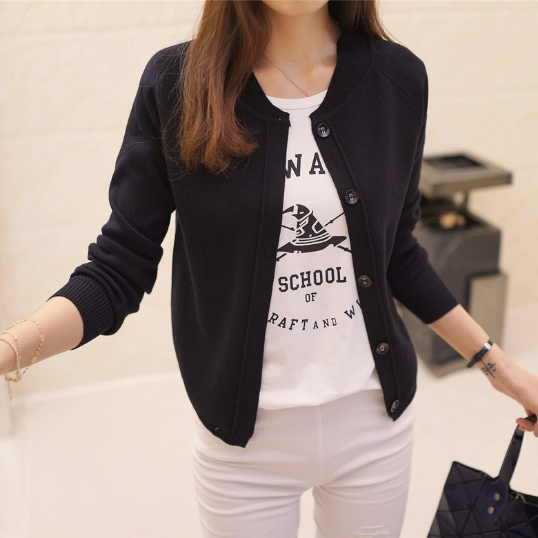 Korean Women's Sweater Cardigan Sweater Coat A Thin And Short Paragraph 2019 Hitz Air Jacket