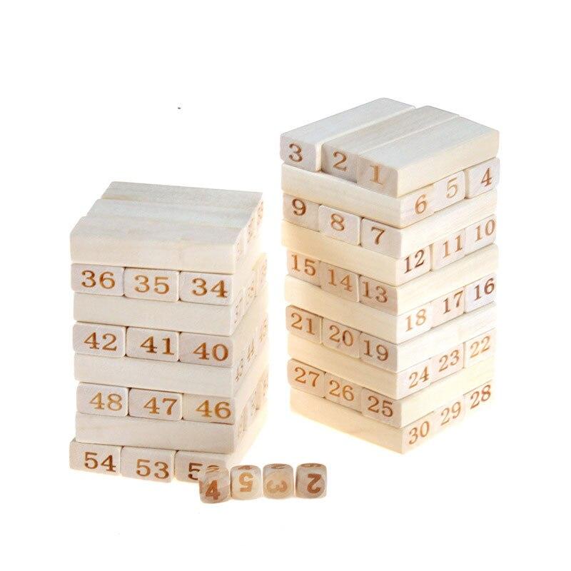 Qualité montessori En Bois 54 Pcs briques De Construction En Bois Blocs Domino Jenga Jeu de table jouets Amusant Enfants Cadeau présent - 6