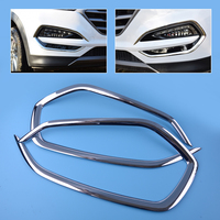 DWCX 1Pair Car Chrome Front Head Fog Light Lamp Cover Trim Foglight Shade Frame Bezel Fit
