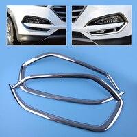 DWCX 1Pair Car Chrome Front Head Fog Light Lamp Cover Trim Foglight Shade Frame Bezel Fit
