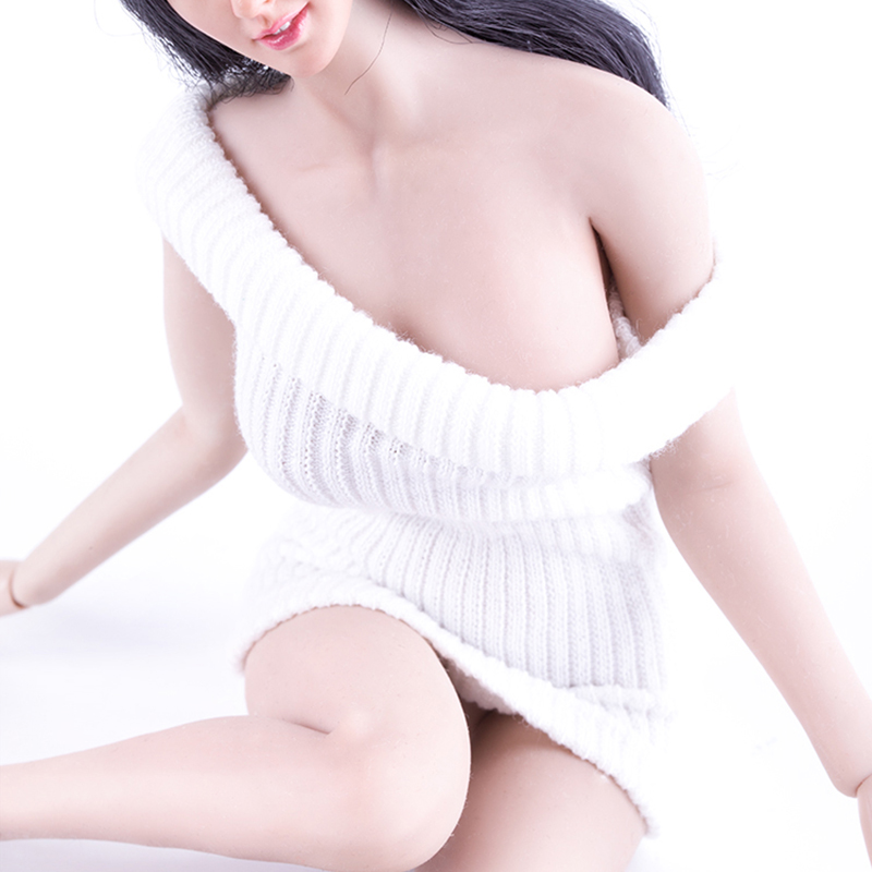 2PCS/P 1/6th White Mini Skirt Strapless Dress Fit 12'' Phicen hotstuff Big Breast Action Figure Flexible Seamless Body Doll Toys white cami bodycon mini dress