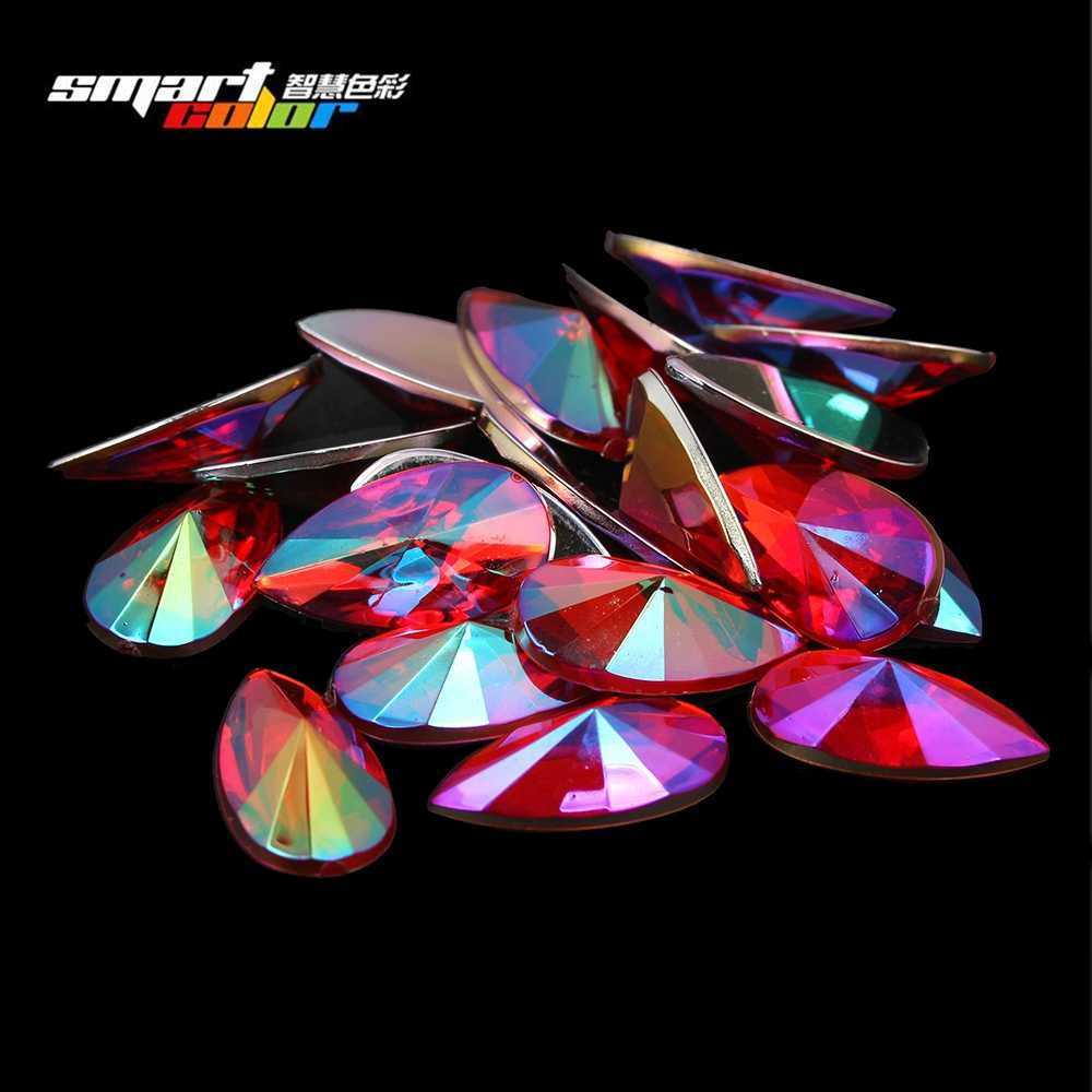 New Tear Shape Pointed 8x13mm 40pcs Flatback Acrylic Rhinstones Crafts Beads DIY Fabric Wedding Dresses Decorations