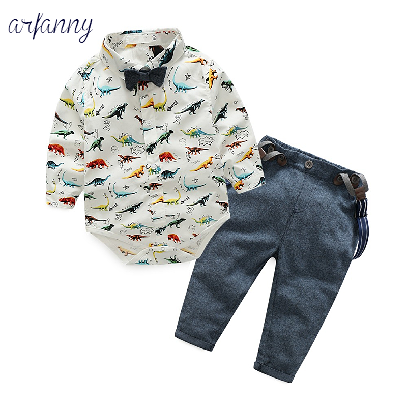 Boys Clothing Sets 3-6 month baby European and American style 1 year old gentleman dress boy dinosaur shirt with pants suit
