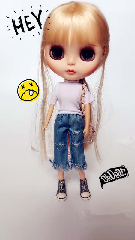 Free shipping Handmade Hole jeans Doll clothes, doll accessories for Blythe/DAL/Pullip /Momoko/Azone girl play house handmade leopard doll shoes doll accessories for blythe licca azone dal momoko lati jb toys girl play house free shipping