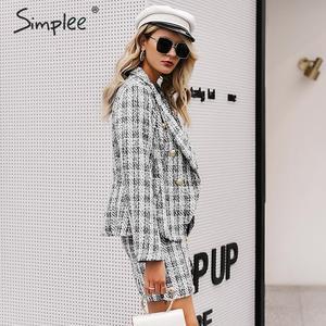 Image 3 - Simplee Tweed plaid two pieces women skirt suit Casual streetwear suits female blazer sets Chic office ladies women blazer suit