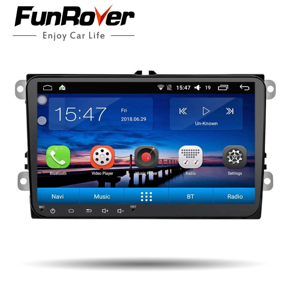FUNROVER android 8,0 автомобиль dvd для Volkswagen passat b7 b6 Гольф 5 Поло tiguan octavia fabia с gps-навигации радио