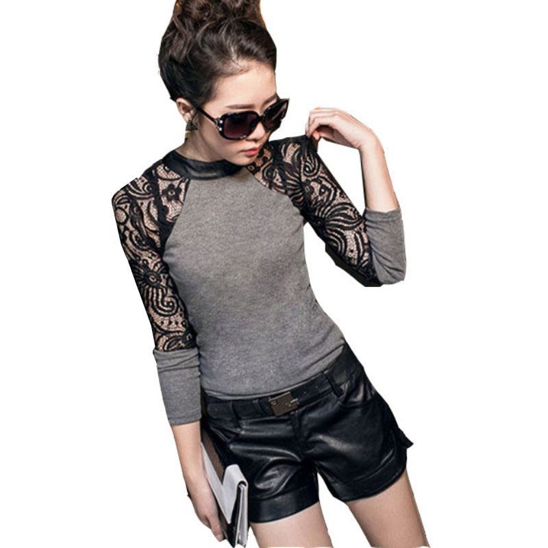 New Fashion 2017 Hot Sale Lady Popular Lace Long Sleeve shirt Slim Knitwear Leather Crew O-Neck Tops A803