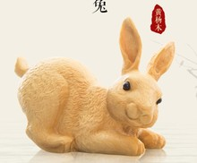 Pocket rabbit joy clear boxwood carving car decoration handicraft Boxwood vehicle wood statue