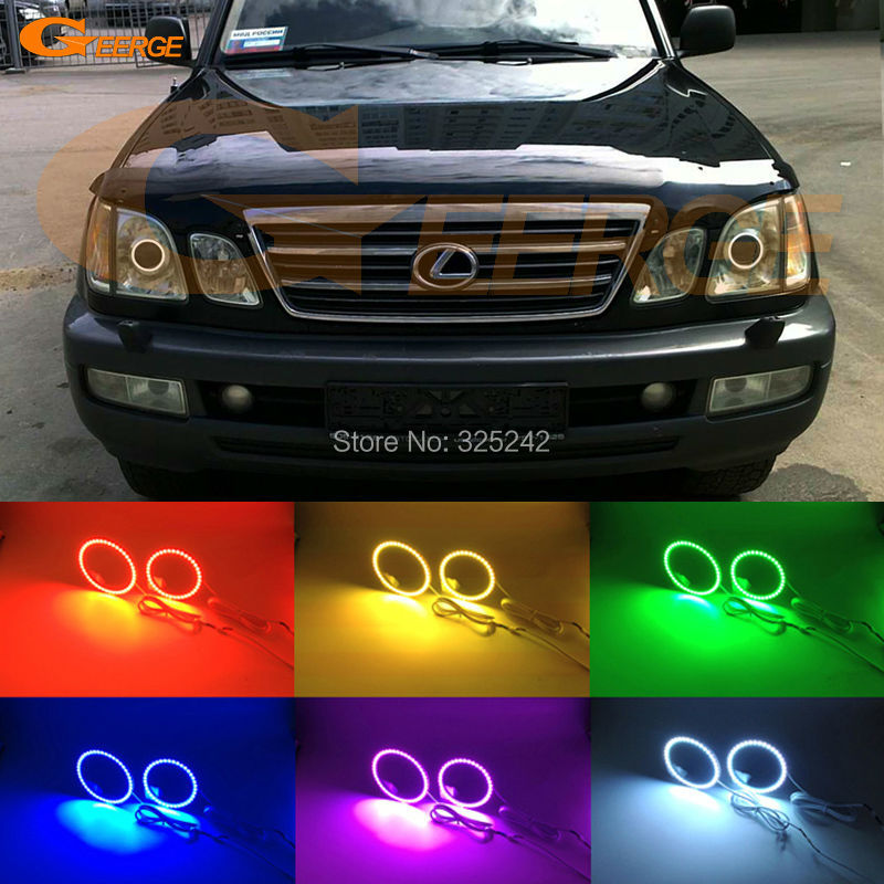 For Lexus LX470 2003 2004 2005 2006 2007 Excellent Multi-Color Ultra bright RGB LED Angel Eyes kit Halo Rings for acura tsx cl9 2004 2005 2006 2007 2008 excellent multi color ultra bright rgb led angel eyes kit halo rings