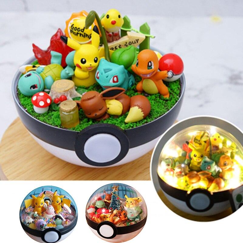 2019 New Anime Pokeball XY Figures Pikachu Bulbasaur handcraft DIY Figures Model Toys Brinquedos Collection Christmas Model Toy