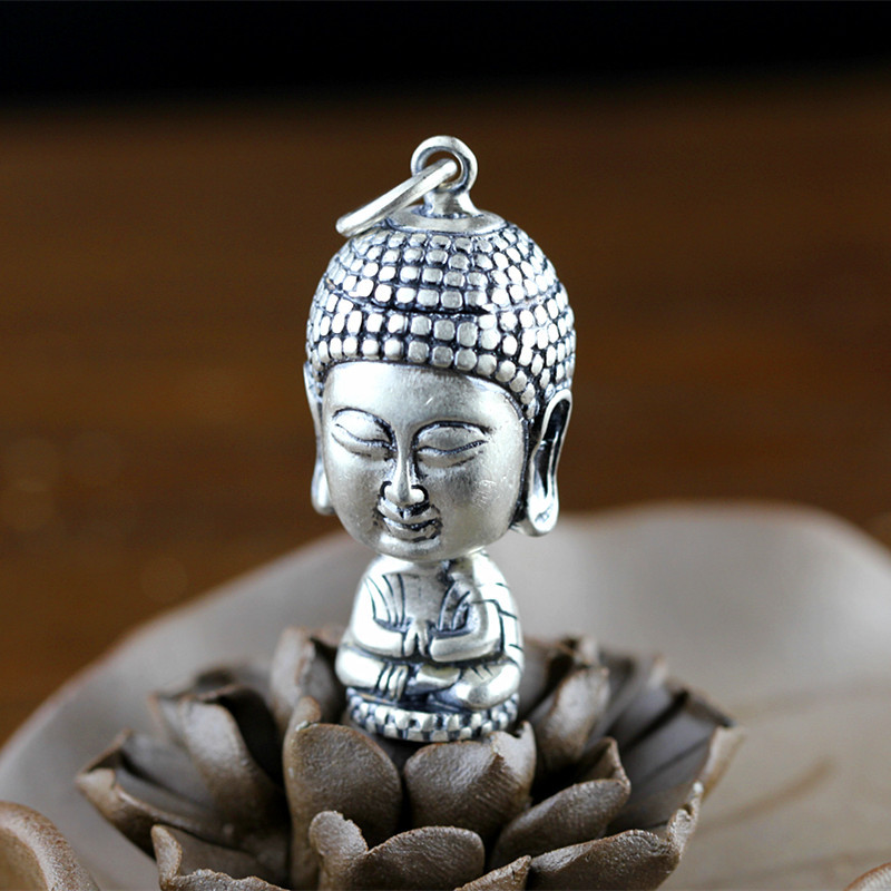 Character of silver products The new listing tee matt frosted glass pendant S925 Buddha юбка befree befree be031ewyme14