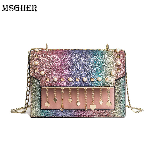 M.S Rainbow Color Sequins Shoulder Bag Women Pearls Pendant Hand Bags Female Casual Crossbody Bags Cute Shine Small Bag WB349