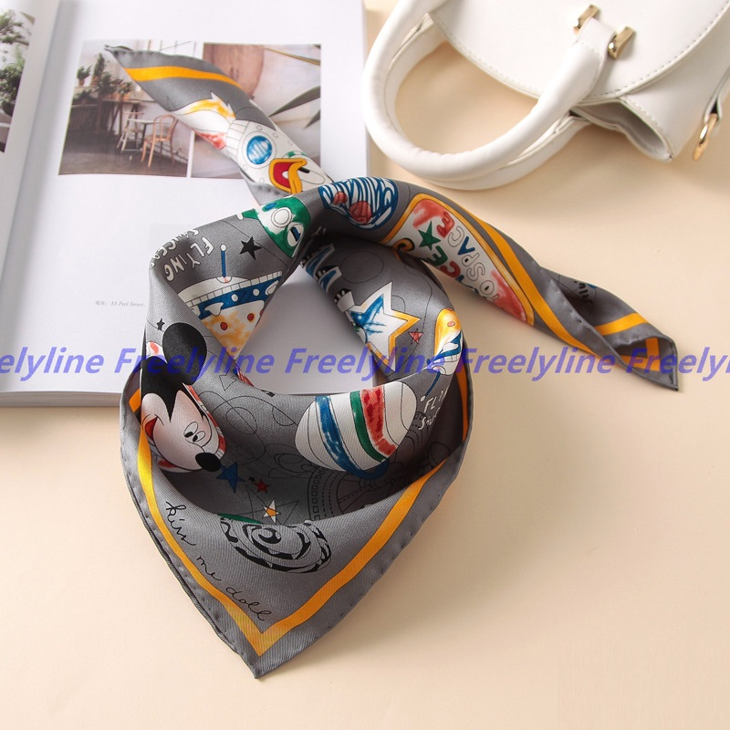 Cartoon Printed Small Square Silk   Scarf   Bandana Neckerchief 100% Silk Twill   Scarf   Foulard Women Fashion Silk   Scarves   &   Wraps