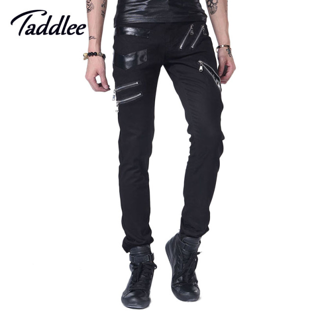 Taddlee Brand Men's Pants Punk Black Skinny Pants Nightclubs Trousers Singer Feet Pants Low Waist Male Bottoms Slim Fit Street