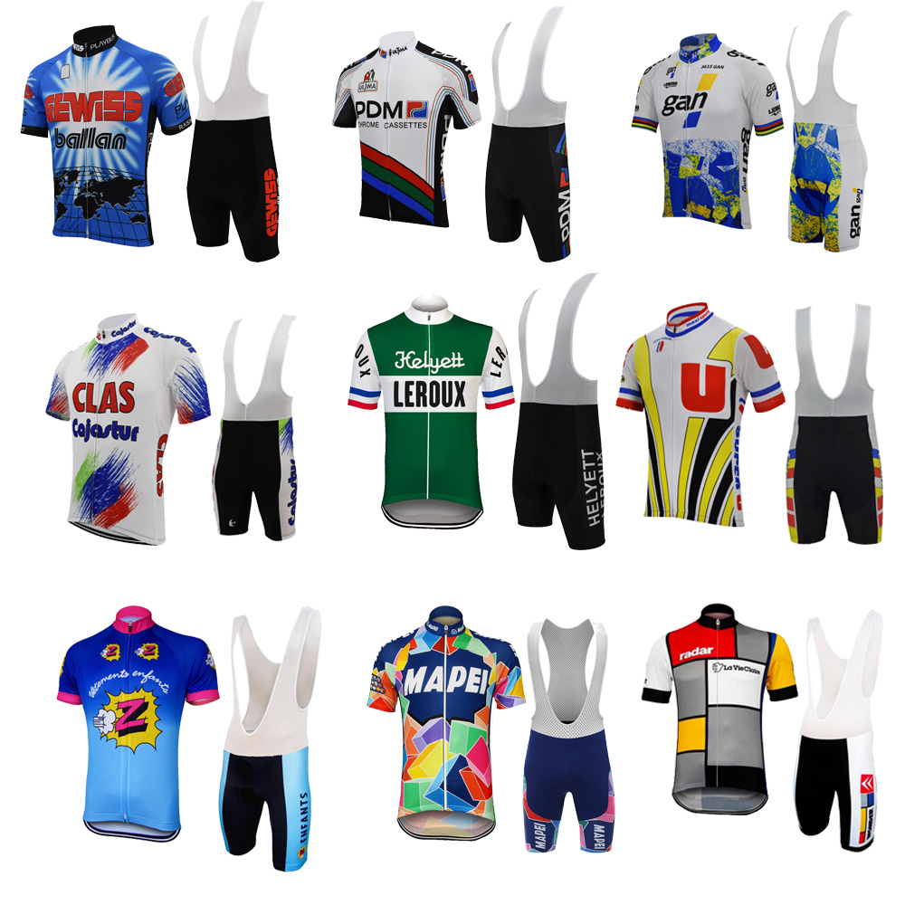 Pdm Retro Jersey Set Men Cycling Clothing 3d Gel Breathable Pad Pro Team Bicycle Clothing Old Style Summer Jersey