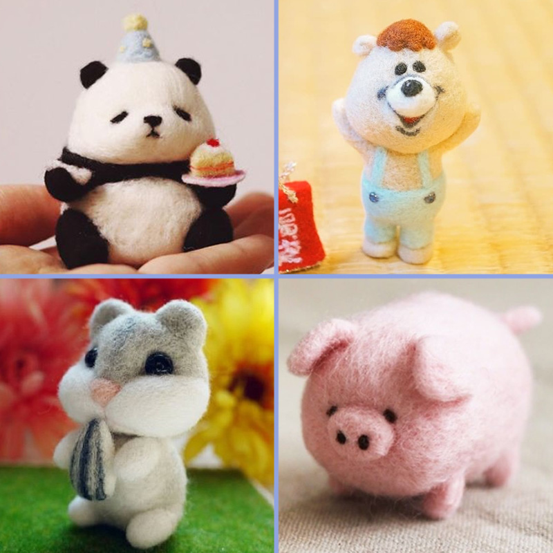 2019 Creative Cute Animal Panda Bear Pig Hamster Toy Doll Wool Felt Poked Kitting Non-Finished Handcarft Wool Felting Material