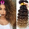 Tissage Pelo Malasio de la Onda Profunda Virginal 3 Bundle Ofertas Gracia Hair Products Malasio Rizado Pelo Virginal rizado Cabello Humano Rubio