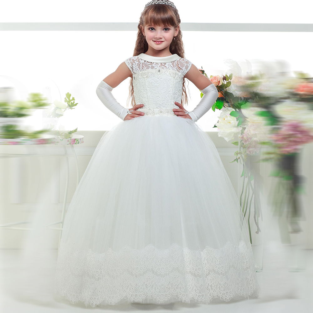 Flower Girl Dresses Sleeveless Ball Gown White and Ivory O-neck Lace Up First Communion Gowns for Wedding Vestidos De Comunion