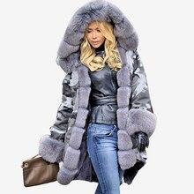 Women Luxury Fur Collar Winter Jacket Parkas 2018 Fashion Cotton Fleece Hooded Overcoat Female Warm Long Coat Outwear Plus Size