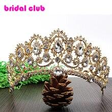 De Oro de lujo del Cristal Plateado del Pavo Real de La Vendimia Accesorios Nupciales Del Pelo Para La Boda Quinceañera Diamante Tiara Corona de La Tiara Del Desfile