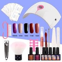 Set For Nail Polish Manicure Set Nail Kit 5 Color Gel Polish 36W LED Lamp Gel Nail Polish Set Manicure Brush Art Tools Nail Set