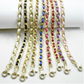 Lightweight 120cm (DIY 60-140cm) Gold Metal Replacement Purse Chain Shoulder Strap for Small Handbags Colorful PU Leather Handle
