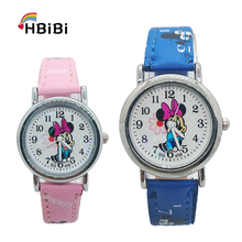 Fashion Leather children Minnie watch for girls casual kids