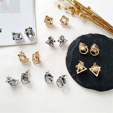Fashion earrings silver 2018 Gem glass Triangle round multilateral  geometry Womens statement jewelr
