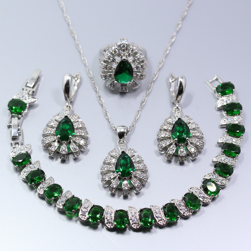 Bridal Jewelry Sets Back To Search Resultsjewelry & Accessories Disciplined Manny&della Hot Selling 925 Silver Color Green Zircon Five-jewelry Set Ring Size 6# 7# 8# 9# 10# Free Gift Box W18
