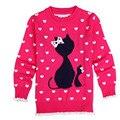 Новый 2017 девушки осень/весна одежда девушки свитер детская одежда девушки свитер зима теплая симпатичные верхняя одежда бесплатная доставка