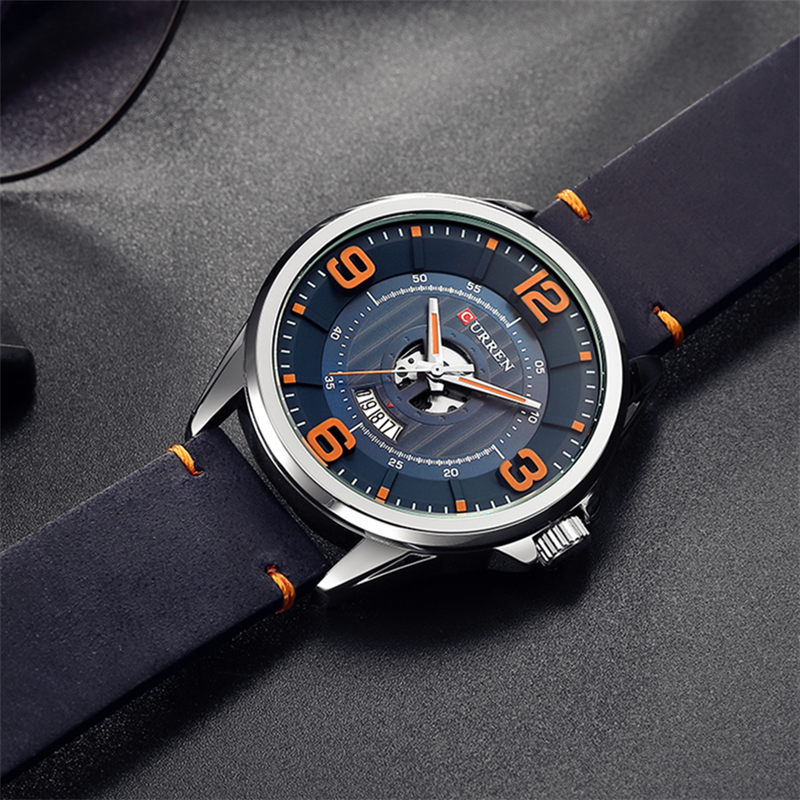 Man Clock Fashion Simple Big Digital Dial Quartz Watches For Men CURREN Casual Business Gentlemen's Wristwatch Reloj Hombres