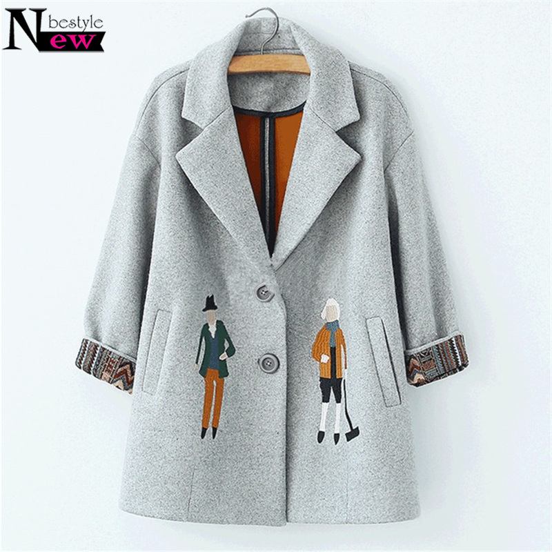 Fashion 2019 Autumn Women Coats European Female Woolen Jackets Cartoon Embroidery Outwear Winter Grey Coats Cashmere Coat Femme