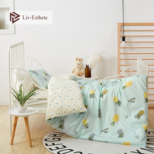 Liv-Esthete 2019 New 100% Cotton Cute Pineapple Kids Cartoon Blue Bedding Set Duvet Cover Pillowcase Bed Linen For Mom Baby 3Pcs