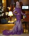 Púrpura de La Sirena de Manga Larga Vestidos de Noche de Cuello Alto Tren Largo Dubai Abaya Kaftan Robe de Soirée Con Apliques de Encaje de Baile vestido