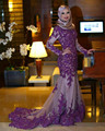 Purple Mermaid Long Sleeve Evening Dresses High Neck Long Train Dubai Abaya Kaftan Robe de Soiree With Lace Appliques Prom Gown