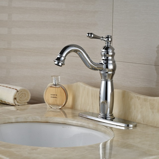 Single Handle Bathroom Sink Faucets Deck Mount Long Spout Washbasin