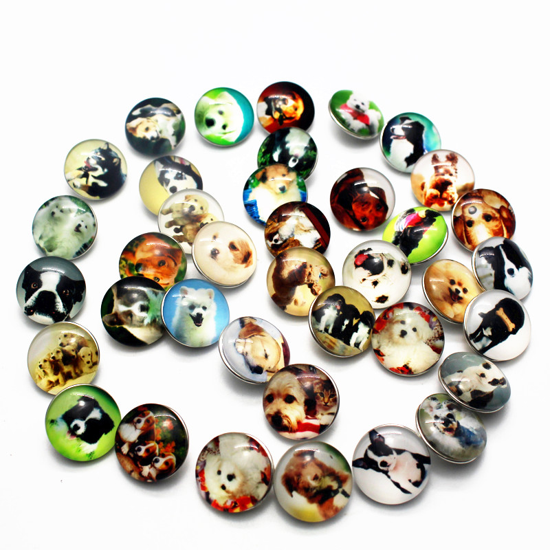 New Arrival 12pcs/lot 18mm dog Glass Ginger Snap Buttons Charms Fit Snap Bracelet/ Necklace DIY Jewelry