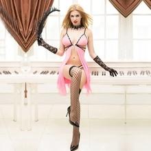 JSY Lencería real rosa para mujer, picardías fino, vestido erótico liso y suave de alto grado, trajes sexuales para mujer 9778