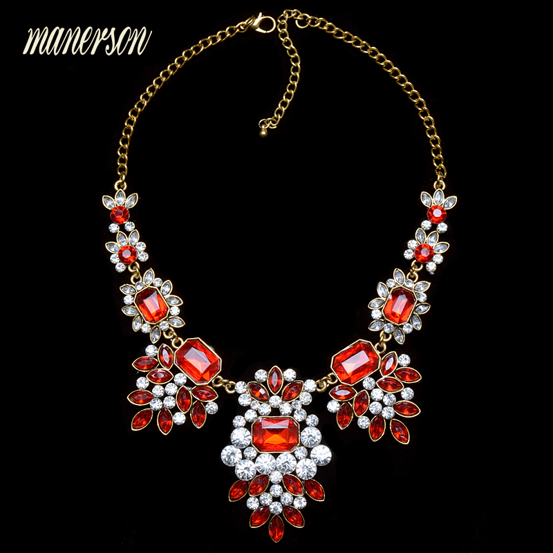 Manerson Fashion 5 Colors Brand Crystal Flower Gold Silver Plated Chain Choker Statement Necklaces Rhinestone Collar