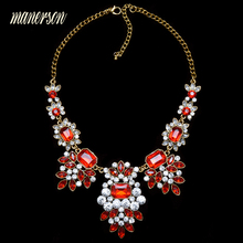 Manerson Fashion 5 Colors Brand Crystal Flower Gold Silver Plated Chain Choker Statement Necklaces Rhinestone Collar necklace