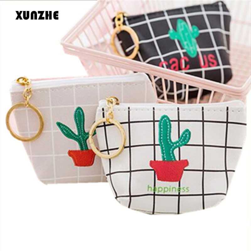 XUNZHE Portable Storage Bags Cute Kids Wallet Cactus Cosmetic bag Small items storage package Case Pencil Case