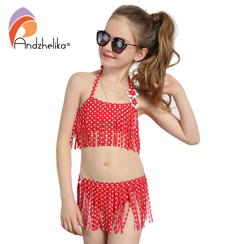 Andzhelika Summer Children's Swimwear 2018 New Girls Bikini Cute Dot Child Bikini Set Kids Tassel Swim Suit For Girl Swimwear