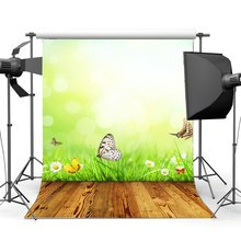Nature Spring Backdrop Butterfly Blooming Fresh White Flowers Green Grass Meadow Bokeh Sequins Vintage Wood Floor