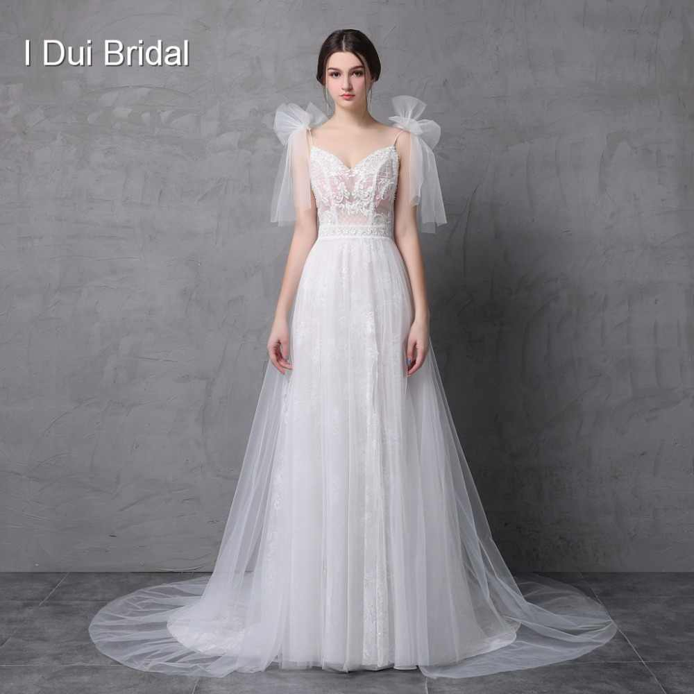 5e331f36ac25b New Style Real Photo Wedding Dress Spaghetti Bow Tie Strap A line Tulle  Exquisite Lace Romantic