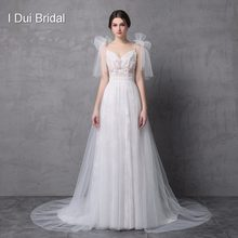 New Style Real Photo Wedding Dress Spaghetti Bow Tie Strap A line Tulle Exquisite Lace Romantic Unique Design Split Leg(China)