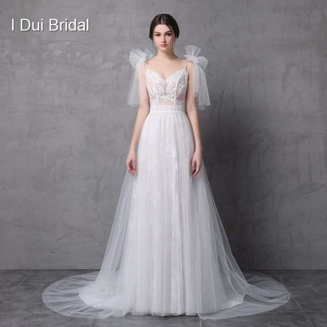 New Style Real Photo Wedding Dress Spaghetti Bow Tie Strap A line Tulle Exquisite Lace Romantic Unique Design Split Leg